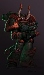 Chaos space marine colored by shalomone