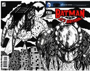 Batman / predator comic cover by darkartistdomain