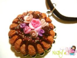 Rosie Chocolate Tart Necklace by colourful-blossom
