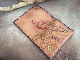 Leather tobacco pouch with pyrography God of War  by eleana1987
