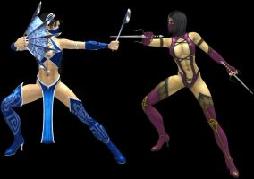 Kitana vs Mileena (primary outfits) by artemismoonguardian
