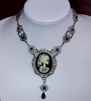 Skull cameo gothic necklace by Pinkabsinthe