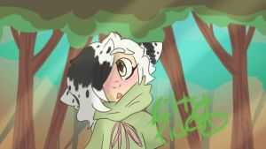 a small cat in the woods  by kittypicles221
