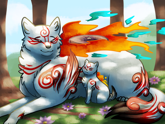 Mother and son - Okami by CreativeCheetah