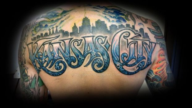 Kansas City top rocker tattoo by All-Wolff