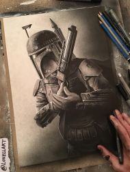 Boba Fett Sketch - Inktober by Lovell-Art