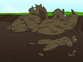 Commission - Dragon Mud Bath by RetroUniverseArt