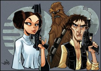 Han, Chewie and Leia in full colour! by Red-J