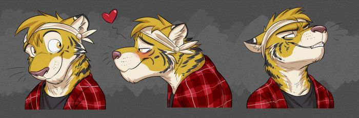Commission: Travis's Expression Sheet by Temiree