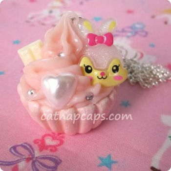 Baby Pink Bunny Necklace by CatNapCaps