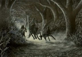 Nazgul flee Crickhollow by Canis-Lupess