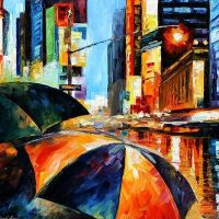 Rain On Times Square by Leonid Afremov by Leonidafremov