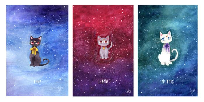 Watercolour Moon Kitties by lizleeillustration