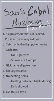 Sao's Cabal Nuzlocke: Fire Red Rules by SaoKasai