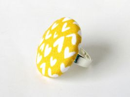 Large mustard yellow button ring white hearts love by KooKooCraft