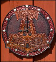 Thors Hammer Leather Clock by Wodenswolf