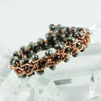 Blue, Gunmetal and Copper Ring View 2 by Gailavira