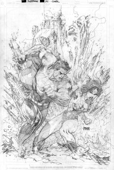 Superman 211 Cover Pencils by jimlee00