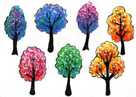 Colorful Trees Acrylic Painting by LoVeras