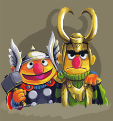 Bert and Ernie / Thor and Loki by gsilverfish