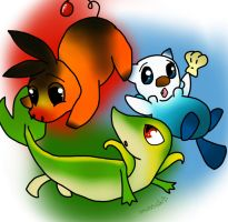 Unova Starters by SaintsSister47