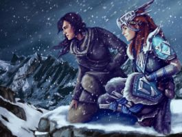 Lara Croft and Aloy by mermaidmaggie