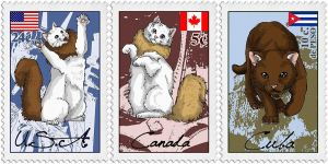 Nekotalia stamps - American cats by The-Manticore