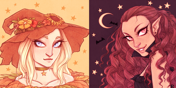 Halloween Witch and Vampire icons for Friends by Naimly