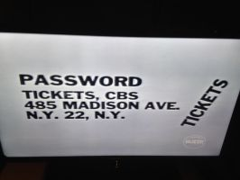 1962 Password game show ticket plug by dth1971