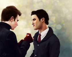 Glee: Merry Klaine Christmas by artsnletters