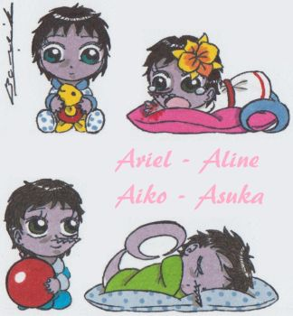 FB: Ariel, Aline, Aiko and Asuka by Alicetiger