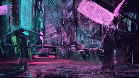 Neon drenched streets by ThemeFinland
