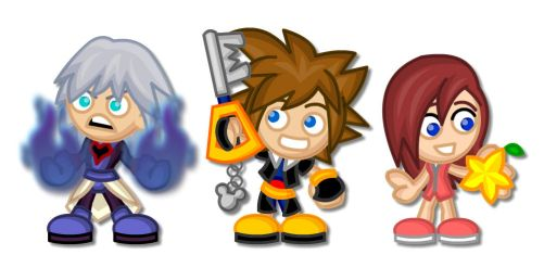 Kingdom Hearts Chibis:  Riku, Sora and Kairi by LegendaryFrog