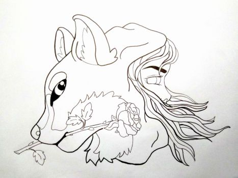 Red and the wolf (line)  by Ammadea