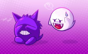 ghosties: boo and gengar by michellescribbles