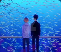 Aquarium scene (Kenma and Kuroo fanart) by markokawaii16
