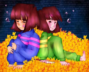 Frisk And Chara In A Pile of Golden Flowers by xlemany