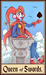 Commission - Harle Queen of Swords Tarot Card by SarahRichford