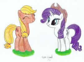 Applejack and Rarity by UlyssesGrant