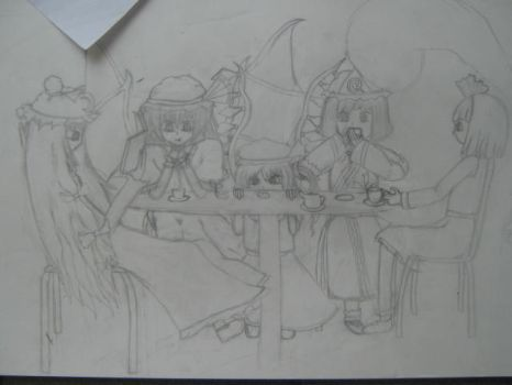 Touhou Poster - 009 Tea Party by XilverGreen