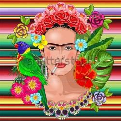 Frida Kahlo Floral Portrait - Vector Illustration by Bluedarkat