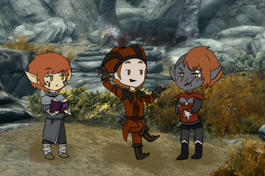 Three Redheads Walk Down A Road... -Collab- by Gothalla123