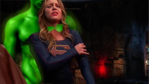 supergirl overwhelmed by supergirldefeated