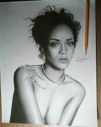 Drawing of Rihanna by cdudley25