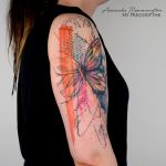 Freehand watercolor abstract butterfly clock by Mentjuh