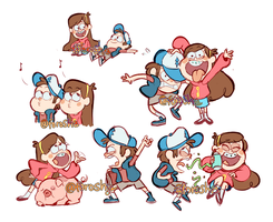Dipper and Mabel Doodles by forosha