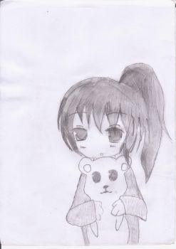 Kyonko with her teddy bear by antonie-kyon