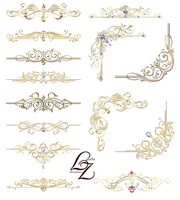 Gold Ornaments Design Elements 02 by Lyotta by Lyotta