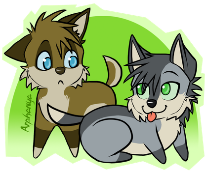 Chibi Wolpy and Dawnsoul by Kylua95