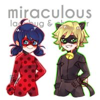 Ladybug and Chatnoir by erichankun